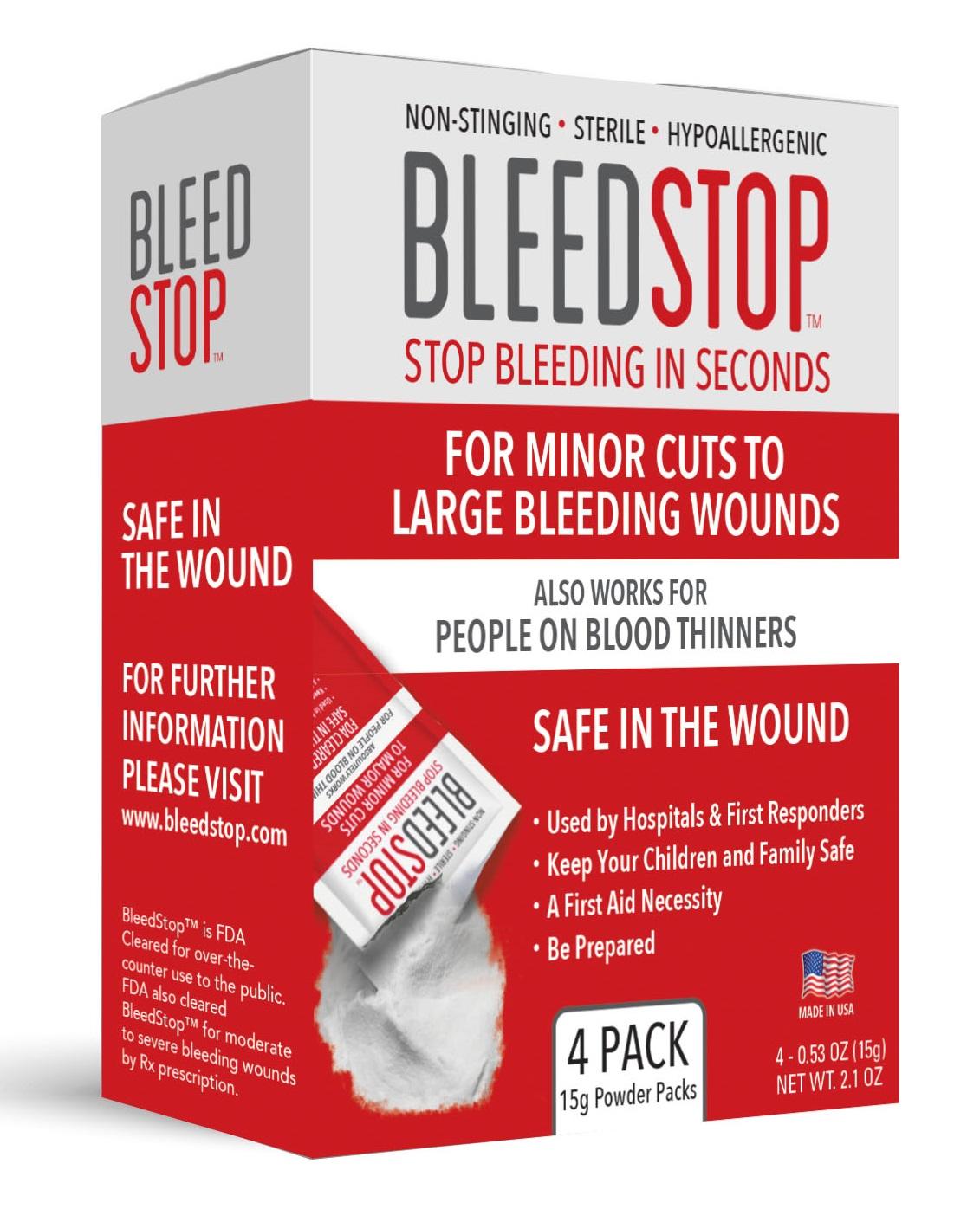 BleedStop 4 Pack 15 Gram Package